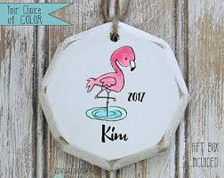flamingo ornament etsy