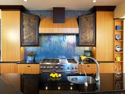 kitchen with blue glass backsplash ellajanegoeppinger com