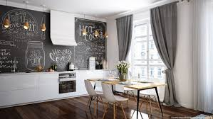 scandinavian dining room style with whimsical wall decoration
