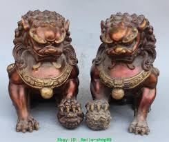 fu dog statues china bronze gilt guardian foo fu dog phylactery door lion