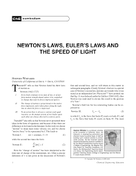 newton u0027s laws euler u0027s laws and the speed of light