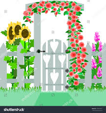 garden gate illustration gate trellis that stock illustration