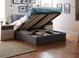 warne grey fabric upholstered ottoman bed frame dreams