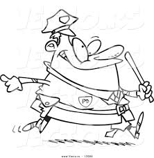 vector of a cartoon chubby running cop coloring page outline by