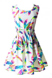 colorful dress white sleeveless colorful feather print dress beautifulhalo