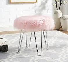Faux Fur Ottoman Pink Faux Fur Ottoman Step Stool For Vanity Chair