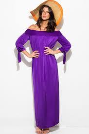 evening maxi dresses shop royal purple sash smocked shoulder sleeve boho