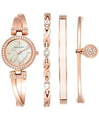 rose gold crystal bangle bracelet images Anne klein women 39 s crystal accent rose gold tone stainless steel tif