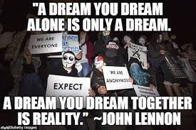 Together Alone Meme - image tagged in anonymous john lennon together we are strong expect