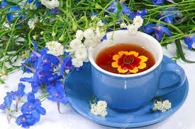 Nice Flowers The Blue Cup Of Tea With Nice Flowers Stock Photo Picture And