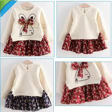 2018 winter dresses baby bow dresses 100 cottom floral
