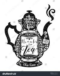 vintage style cafe menu teapot coffee stock vector 317063759