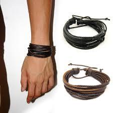 leather bracelet cuff women images 2pc lot handmade punk weave vintaage cuff genuine men leather jpg