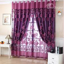 Purple Floral Curtains Decoration Polyester Cotton Purple Floral Sheer And Shading