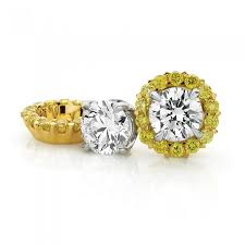 detachable earrings half carat white diamond stud earrings with 18ct yellow gold