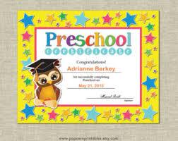 preschool certificates preschool graduation certificate etsy