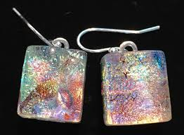 non nickel earrings brilliant crystalline dichroic glass earrings option for silver