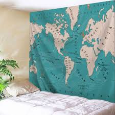 Map Fabric 2018 World Map Polyester Fabric Wall Art Tapestry Lake Blue W Inch