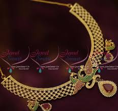 new fashion necklace designs images Nl7712 stylish ruby emerald peacock design necklace latest fashion JPG