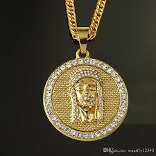 gold jesus pendant necklace images Wholesale 2016 the new jesus facial pendant for men women hiphop jpg