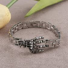 stainless steel charm bracelet chain images Fashion punk skull hand stainless steel charm bracelet for men jpg