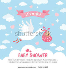 baby shower card stork carrying stock vector 548253883