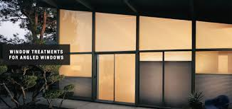 shades u0026 shutters for angled window the curtain shop of