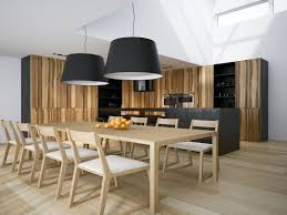 Long Dining Room Light Fixtures by Minimalist Wood Dining Table Ash Veneer Shelves In Brown Multi