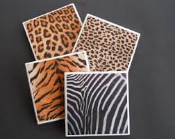 Cheetah Home Decor Animal Print Coaster Etsy