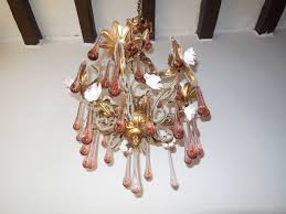 porcelain chandelier roses murano pink drops beaded porcelain roses helix tole