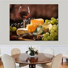 Grapes And Wine Home Decor Canvas Print Pictures Wall Framework Kitchen Decor 1 Pcs