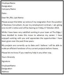 formal resignation letter 1 month notice google search lucabon