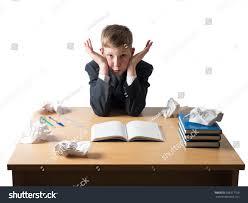 Work Desk Young Boy Jacket Sitting Work Desk Stock Photo 568317709