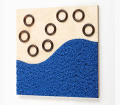 tactile wall tile blue fibre wood rings