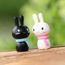 new mini rabbit ornament miniature figurine plant pot garden home