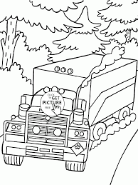 truck mack on the road coloring page for kids transportation