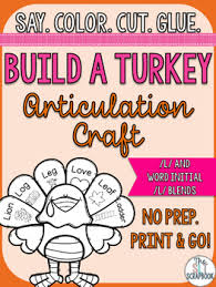 thanksgiving articulation craft no prep l and l blends