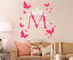 monogram wall decals for nursery e85 diy custom name crown monogram poster paper for nursery kids