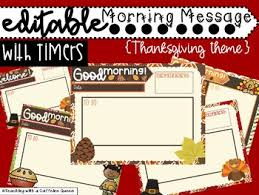 thanksgiving morning message work slides editable with timers