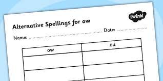 alternative spellings for ow table worksheet alternative