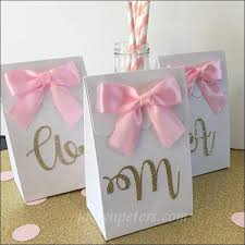 gold favor bags personalized gold glitter initial favor bags with bows set of 10