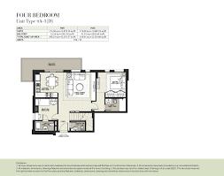 4 Bedroom Apartment Floor Plans Hayat Boulevard By Nshama 2 Bedroom Apartment Type 2j 1 Floor Plan