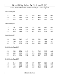 Worksheets For Math Divisibility Rules For 3 6 And 9 3 Digit Numbers A