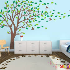 Brown Tree Wall Decal Nursery Large Brown And Green Tree Blowing In The Wind Tree Wall Decals