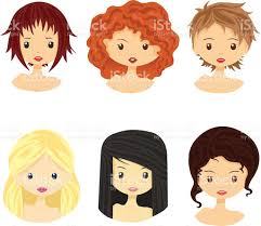 Images Of Girls Hairstyle by Set Of Girls With Different Types Of Hairstyles And Faces Stock