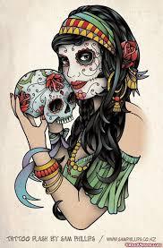 Skull Viewer Sugar Skull Gypsy Tattoo On Right Back Shoulder Tattoo Viewer