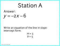 slope intercept stars worksheet answers slope intercept form of