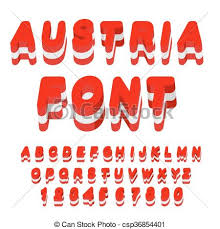 vector clipart of austria font austrian flag on letters national