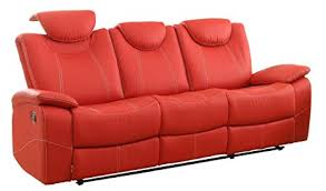 amazon com homelegance reclining sofa faux leather red kitchen