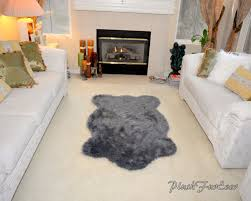 luxury gray sheepskin faux fur rug living room rug elegant